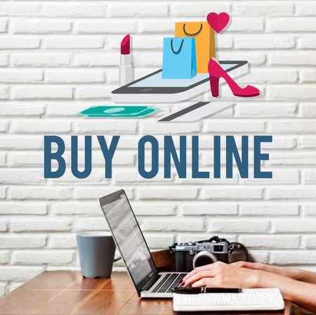 pay wall: Shopping Online Shopaholics E-Commerce E-Shopping Concept