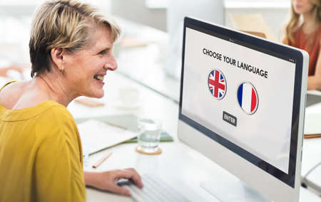 a faction: Language Dictionary English French Concept Stock Photo