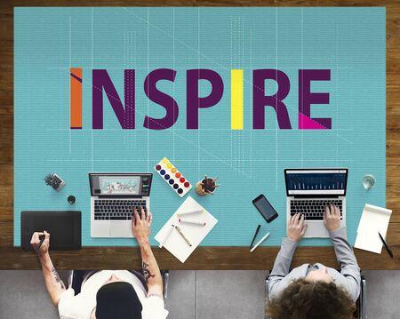 inspire: Inspire Aspiration Confidence Dreams Goal Vision Concept Stock Photo