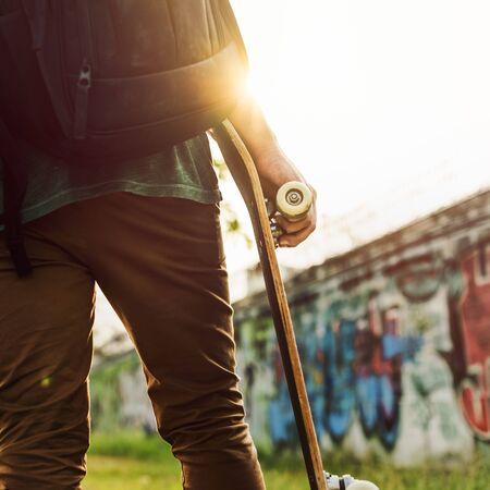 skateboarder: Skatboarder Lifestyle Playful Park Concept
