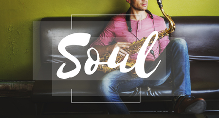 Soul concept with a man holding saxophone in background