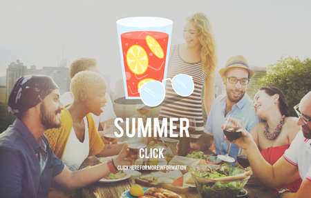 luncheon: Summer Glass Lemonade Drink Graphic Concept Stock Photo