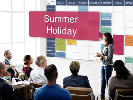 Seminar with summer holiday schedule Stockfoto