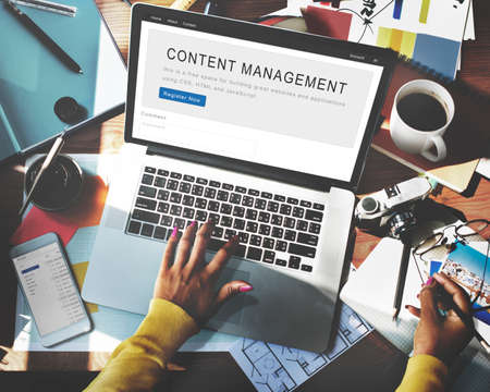management system: Content Management System Strategy Web Concept Stock Photo