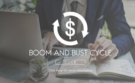 economic activity: Boom Bust Cycle Economy Financial Concept Stock Photo
