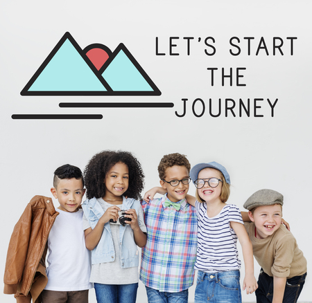 Lets start the journey concept with children Stock Photo