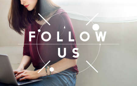 find us: Follow Us Join Social Media Network Concept Stock Photo