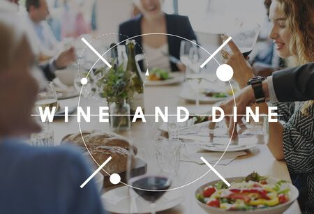 Wine Dine Sining Deinner Drinking Food Beverage Concept