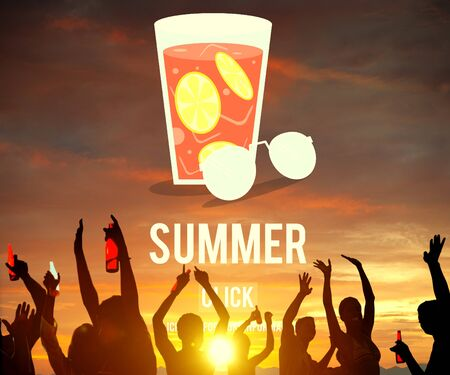 party down: Summer Glass Lemonade Drink Graphic Concept Stock Photo