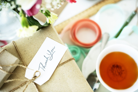 thankyou: Present Package Thankyou Message Teacup Flowers Concept