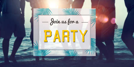invited: Summer Party Invitation Invited Celebration Concept Stock Photo
