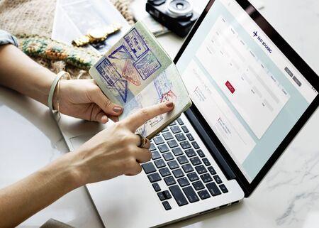 passport stamp: Pointing Passport Stamp Online Flight Booking Concept