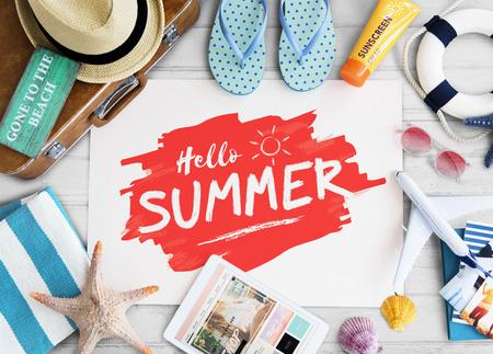 Sommer-Reise Objekte Zeichen Konzept Standard-Bild - 60902491