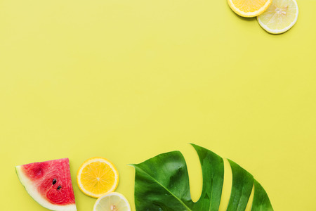 Citroen Oranje Watermeloen Leaf Sappige Vitamine Concept Stockfoto