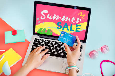 creditcard: Summer Sale Online Purchase Hands Creditcard Concept Stock Photo
