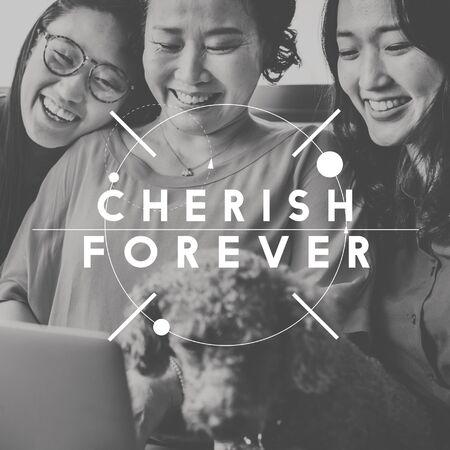cherish: Custodire Azione Relazione Amicizia Matrimonio Concetto Archivio Fotografico