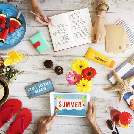days gone by: Objects Summer Travel Plan Vacation Concept Stock Photo