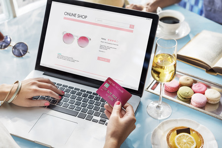 paying credit card: E-shopping Online Shopaholic Paying Credit Card Concept