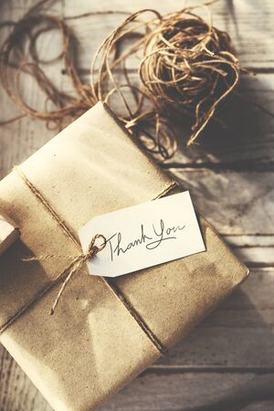 Rustic Vintage Wrapped Present Thankyou Message Concept Stock Photo