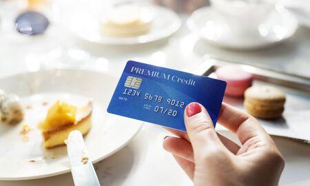pagando: El pago con tarjeta Restaurante Concept Foto de archivo