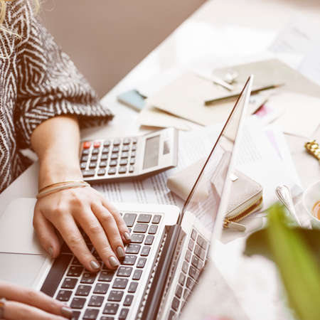 working woman: Woman Accountant Working Busy Concept Stock Photo