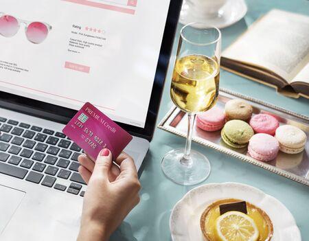 shopaholic: E-shopping Online Shopaholic Paying Credit Card Concept