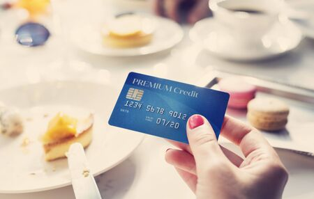 owed: Paying Credit Card Restaurant Concept