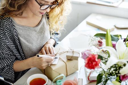thankyou: Female Writing Thankyou Card Present Concept Stock Photo