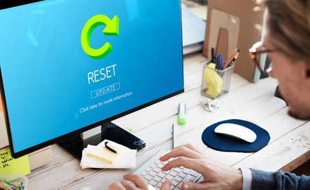 restart: Reset Restart Back Beginning Concept