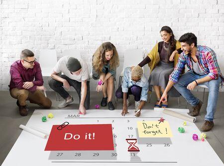 encouraging: Do It Note Calendar Planner Concept