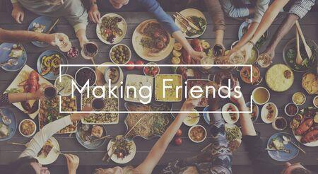 get together: Making Friends Friendship Get Together Unity Concept