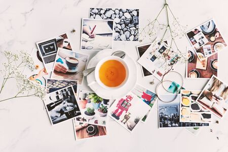 artistic flower: Photography Collection Scattered Table Aerial Concept Stock Photo