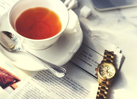 tea break: Tea Break Relax Chill Newspaper Concept