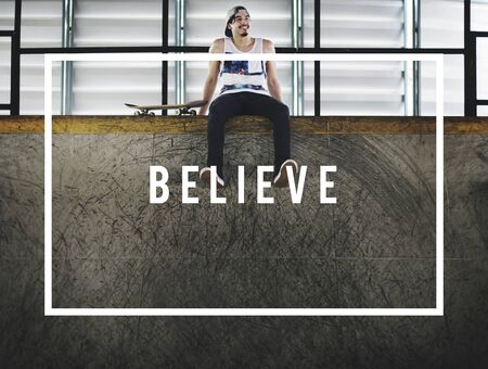mindful: Believe Inspiration Motivational Mindful Concept Stock Photo
