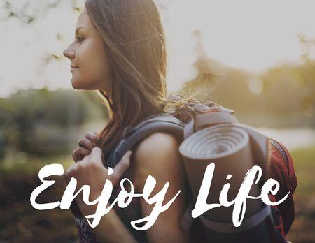 pleasurable: Enjoy Life Enjoyment Pleasurable Happiness Delightful Concept