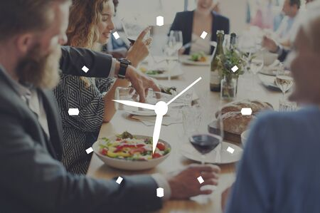 second meal: Time Timing Punctual Schedule Management Concept Stock Photo