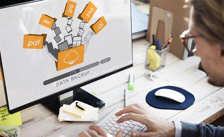data backup: Data Backup Files Online Database Storage Concept