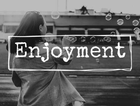 enjoyment: Enjoyment Enjoy Like LIve Pleasure Satisfaction Concept Stock Photo