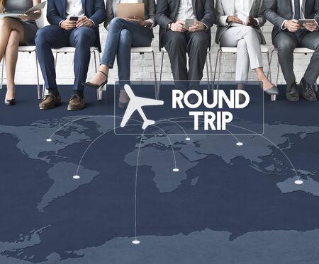 round collar: Flight Ticket Booking Destination Journey Concept Stock Photo