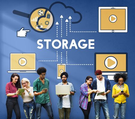 Storage Cloud Connection Devices Technology Concept