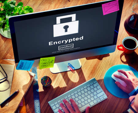 data privacy: Data Privacy Encrypted Online Security Protection Concept