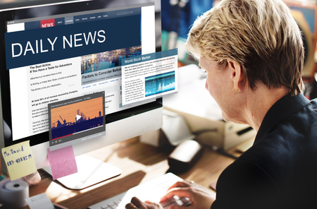 newscast: Media Journalism Global Daily News Content Concept Stock Photo