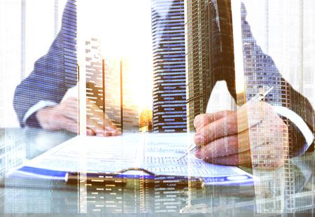 Businessman Questionnaire Cityscape Office Working Concept