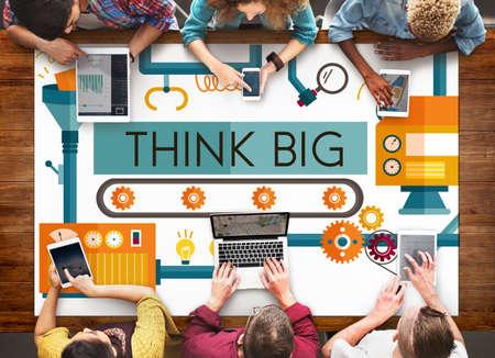 planning: Think Big Analysis Attitude Planning Success Concept
