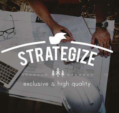 strategize: Strategize Strategy Planning Vision Process Concept Stock Photo