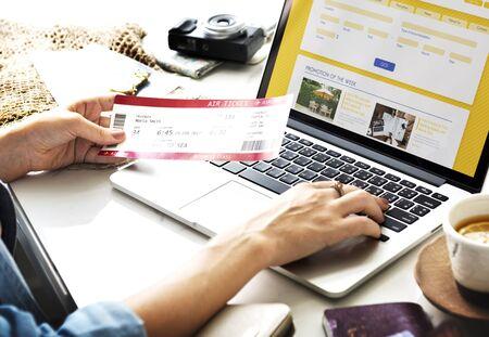 flight booking: Plane Ticket Online Flight Booking Computer Concept Stock Photo