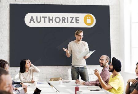 authorize: Authorize Accessible Permission Verification Security Concept Stock Photo
