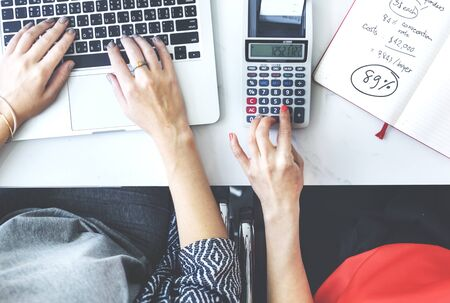 calculating: Accounting Calculating Analysis Business Plan Concept