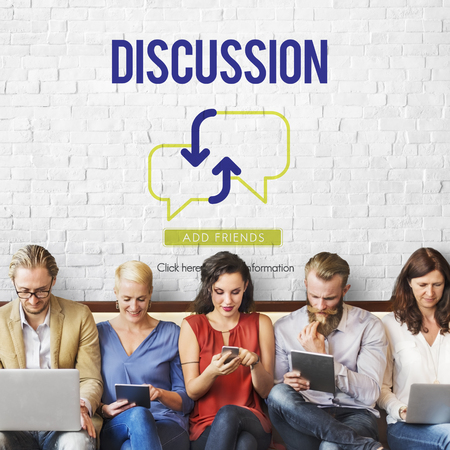 Discussion concept with group of people Imagens
