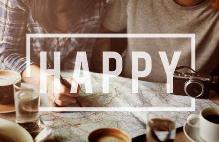 Happiness Happy Pleasure Fun Cheerful Concept Banco de Imagens